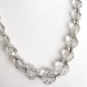 Vintage Clear Graduated Glass Beads Necklace